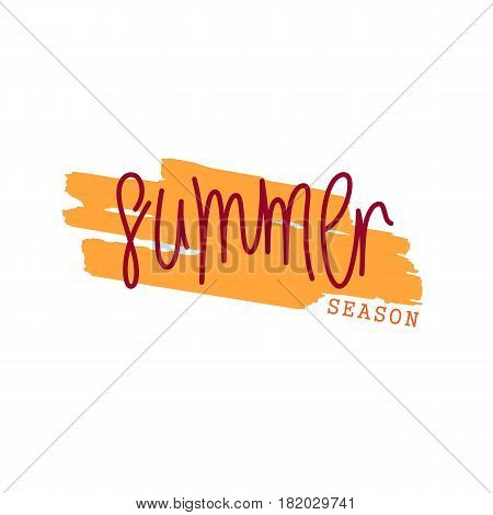 Paintbrush smear and author's lettering - Summer Season. Simple creative design elements. Vector EPS 8