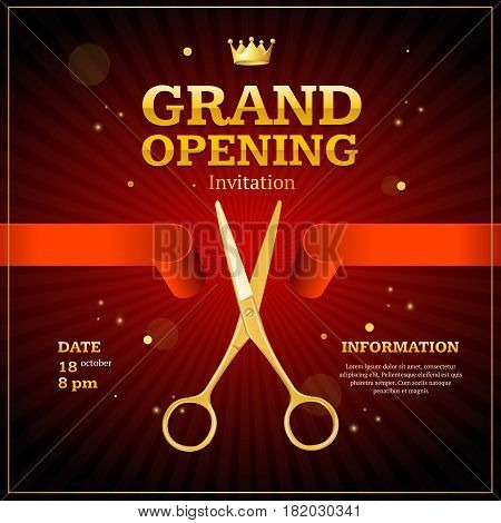 Grand Opening Invitation Card on a Red Background witch Gold Scissor Cut Tape. Presentation Concept Ceremony Beginning. Vector illustration