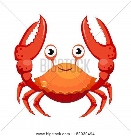 Red crab, sea creature. Colorful cartoon character isolated on a white background