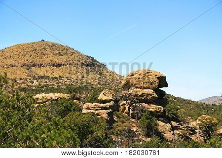 Sugarloaf Mountain in Echo Canyon with rock hoodoos formations in Chiricahua National Monument near Wilcox, in southern Arizona, USA.