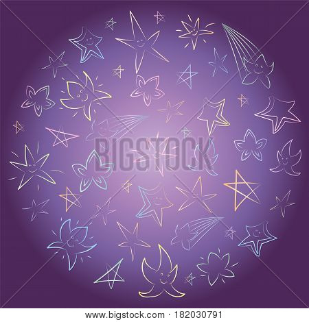 Colorful Hand Drawn Stars Arranged in a Circle. Children Drawings of Doodle Stars on Night Sky. Sketch Style. Vector Illustration.
