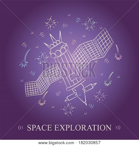 Space Exploration. Hand Drawn Doodle Spaceship and Comets Arranged in a Circle. Sketch Style. Vector Illustration.
