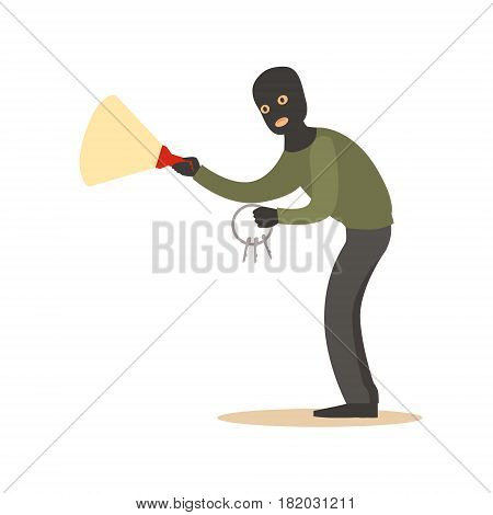 Thief in a black mask with master keys and flashlight. Colorful cartoon character vector Illustration isolated on a white background