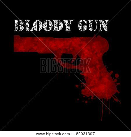 Illustration of a bloody gun on a black background as a symbol of violence.