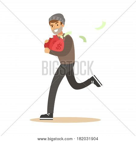 Robber in mask running with red money bags. Colorful cartoon character vector Illustration isolated on a white background