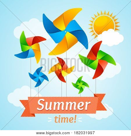 Wind Mill Hello Summer Concept Card or Flyer Origami Windmill Element Summertime Holiday Activity. Vector illustration