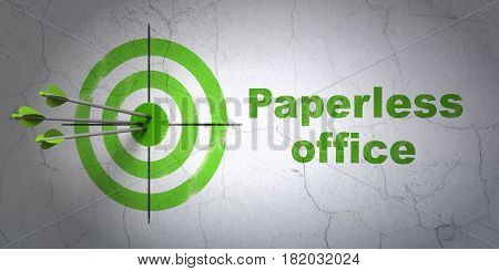 Success business concept: arrows hitting the center of target, Green Paperless Office on wall background, 3D rendering