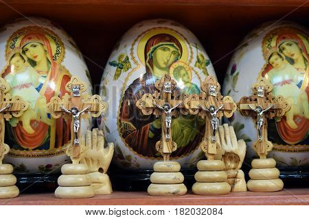 JERUSALEM, ISRAEL - June 03, 2015: painted easter eggs and wooden crucifixes on the market in the old city next to the temple of the Holy Sepulcher in Jerusalem, on June 03, 2015, Israel