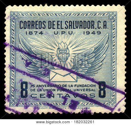 EL SALVADOR - CIRCA 1949: A stamp printed in El Salvador shows wings, torch and letter, U.P.U. (Universal Postal Union), 75th Anniversary, circa 1949
