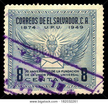 EL SALVADOR - CIRCA 1949: A stamp printed in El Salvador shows wings, torch and letter, U.P.U. (Universal Postal Union), 75th Anniversary, circa 1949