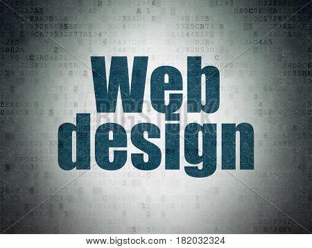 Web development concept: Painted blue word Web Design on Digital Data Paper background