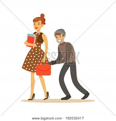 Pickpocket trying to steal bag from girl. Colorful cartoon character vector Illustration isolated on a white background