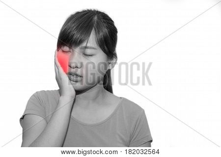 Woman hands touching her own cheek or having toothache - dental concept