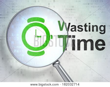 Time concept: magnifying optical glass with Hand Watch icon and Wasting Time word on digital background, 3D rendering