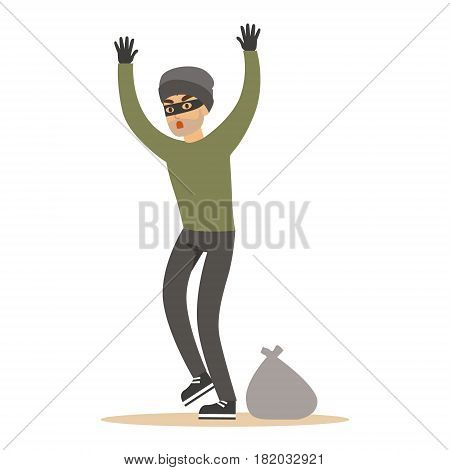 Robber man in black mask holding hands up. Colorful cartoon character vector Illustration isolated on a white background