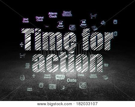 Time concept: Glowing text Time for Action,  Hand Drawing Time Icons in grunge dark room with Dirty Floor, black background