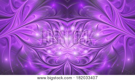 Abstract Glossy Exotic Flowers. Fantasy Symmetric Fractal Design In Bright Purple Colors. Digital Ar