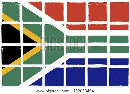 Glazed tiles south africa flag square  mosaic  detail line