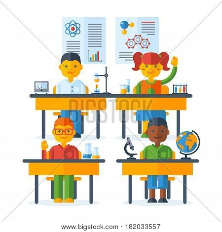 Pupils raising hands, class at the elementary school. Back To School education concept with schoolers. Vector Illustration. Happy kids at desks