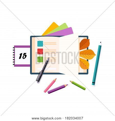 Schedule, Calendar And Pencils, Set Of School And Education Related Objects In Colorful Cartoon Style. Scholar Inventory Illustration Flat Vector Cute Drawing.