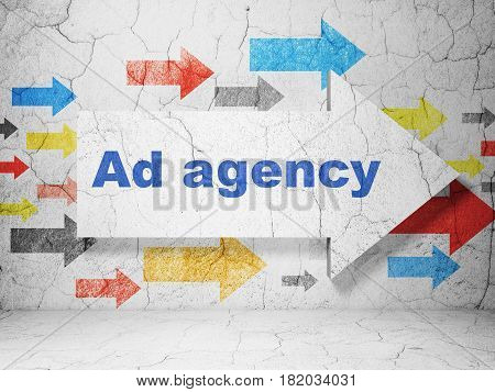 Advertising concept:  arrow with Ad Agency on grunge textured concrete wall background, 3D rendering