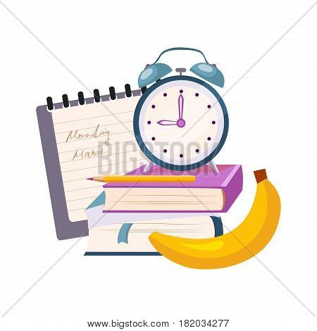 Books, Clock And Banana, Set Of School And Education Related Objects In Colorful Cartoon Style. Scholar Inventory Illustration Flat Vector Cute Drawing.