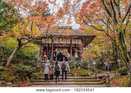 Kyoto Japan - November 26 2015 : Unidentified people visit Jojakko-ji temple in autumn.Jojakko-ji temple is one of the most popular tourist at Arashiyama in high season ( Momiji) Kyoto Japan.