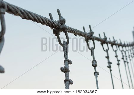 Coils of wire or cable used for suspension bridge.