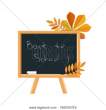 Blackboard, Chalk And Fallen Leaves, Set Of School And Education Related Objects In Colorful Cartoon Style. Scholar Inventory Illustration Flat Vector Cute Drawing.