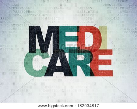 Healthcare concept: Painted multicolor text Medicare on Digital Data Paper background