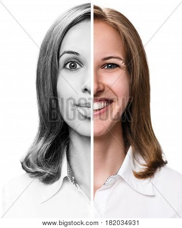 Young woman expressing happy emotions in half face collage.