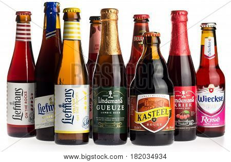 GRONINGEN, NETHERLANDS - APRIL 15, 2017: Collection of Liefmans, Kasteel, Mort Subite, Belle-Vue, Lindemans and Wieckse fruit beers isolated on a white background