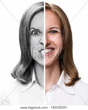 Young woman expressing happy and anger emotions in half face collage.