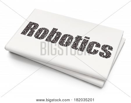 Science concept: Pixelated black text Robotics on Blank Newspaper background, 3D rendering