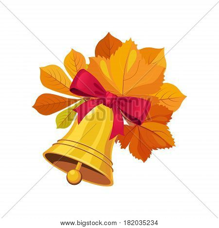 Bell With Bow And Leaves, Set Of School And Education Related Objects In Colorful Cartoon Style. Scholar Inventory Illustration Flat Vector Cute Drawing.
