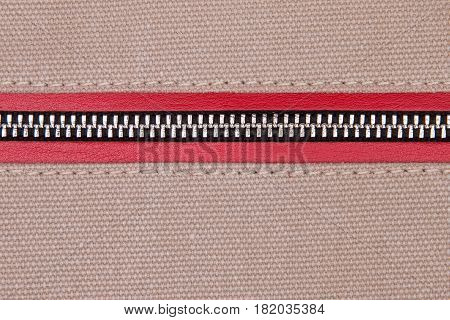 Zipper Clasp in Fabric. Cloth cloth close-up. Background of fabric.