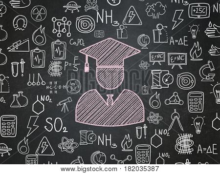 Science concept: Chalk Pink Student icon on School board background with  Hand Drawn Science Icons, School Board