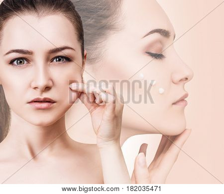 Collage of woman pulls elasticated skin after cream over beige background.