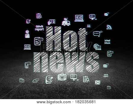 News concept: Glowing text Hot News,  Hand Drawn News Icons in grunge dark room with Dirty Floor, black background