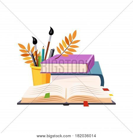 Books Pile And Writing Tools, Set Of School And Education Related Objects In Colorful Cartoon Style. Scholar Inventory Illustration Flat Vector Cute Drawing.