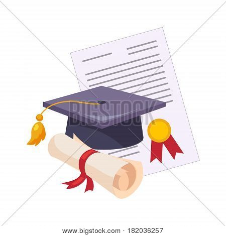 Graduation Hat And Diploma, Set Of School And Education Related Objects In Colorful Cartoon Style. Scholar Inventory Illustration Flat Vector Cute Drawing.
