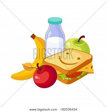 Lunch Food, Sandwich, Milk And Fruits, Set Of School And Education Related Objects In Colorful Cartoon Style. Scholar Inventory Illustration Flat Vector Cute Drawing.