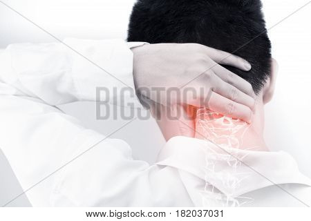 neck bones injury white background spine pain