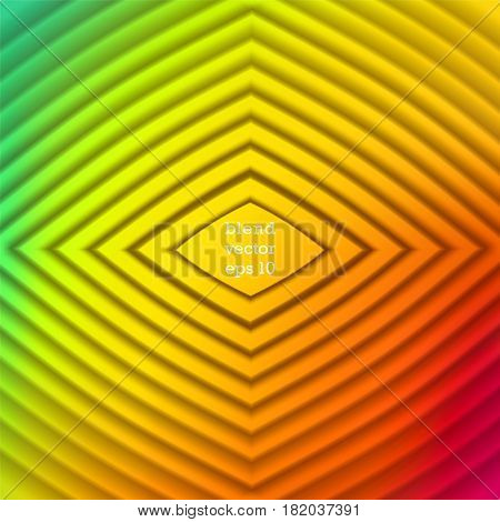 Iridescent color Vector background. Staged volume structure in the form of rhombus. 3D ripples effect