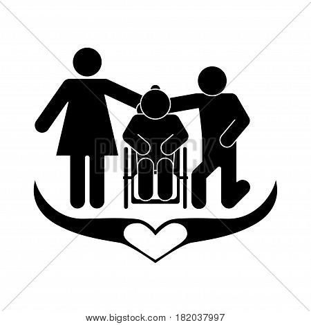 A happy family, relatives take care of an elderly disabled person.