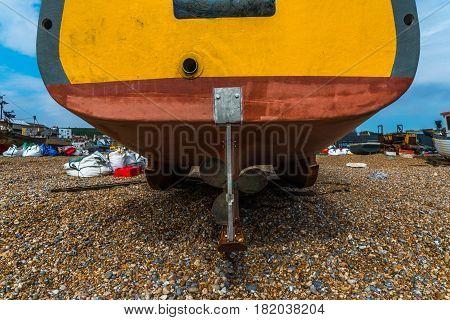 Fishing boats on the shore stony beach fishing industry screw boat pebble
