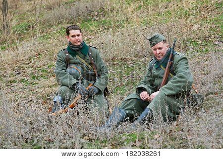 Volgograd Russia - November 21 2010: Portrait of actors dressed as German soldiers of World War II in military-historical reconstruction in Volgograd.