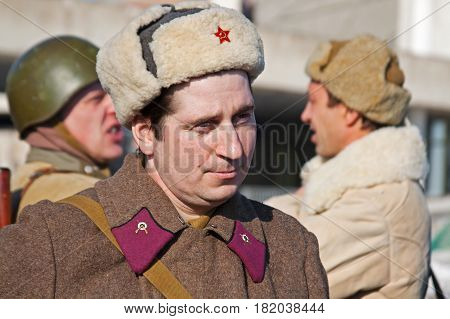 Volgograd Russia - January 30 2011: Portrait of actor dressed as Russian Soviet soldier of World War II in reconstruction of the capture of field Marshal Paulus in Volgograd