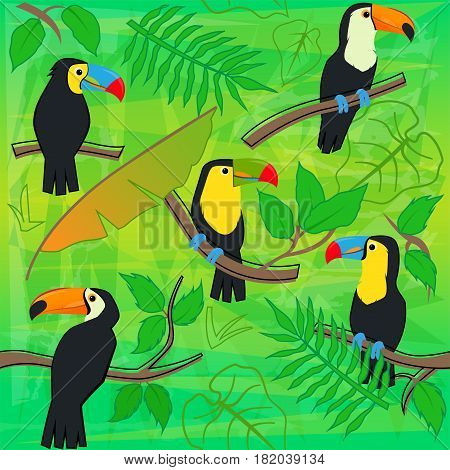Colorful pattern of toucans at the forest. Eps10