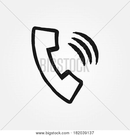 The outline of the handset is drawn with a brush. Grunge icon phone. Black isolated symbol. Vector illustration.